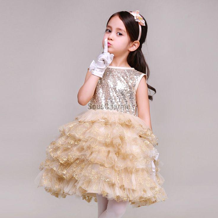 robe de communion enfant fille pas cher jupe tutu gradins en tulle champagne aux glitter. Black Bedroom Furniture Sets. Home Design Ideas