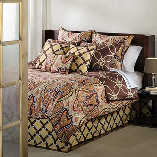 @Overstock - The predominant pattern of this queen-size comforter is a modern paisley design using earthtones such as chocolate, rust and gold. The set reverses to a solid chocolate background with an intertwined rope motif.http://www.overstock.com/Bedding-Bath/Spencer-Queen-size-Duvet-Cover-Set/7302446/product.html?CID=214117 $87.99