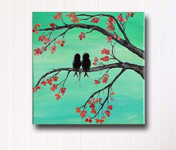 Painting As Wedding Gift : Canvas Painting Love Bird Painting Mint and Coral Wedding Gift ...