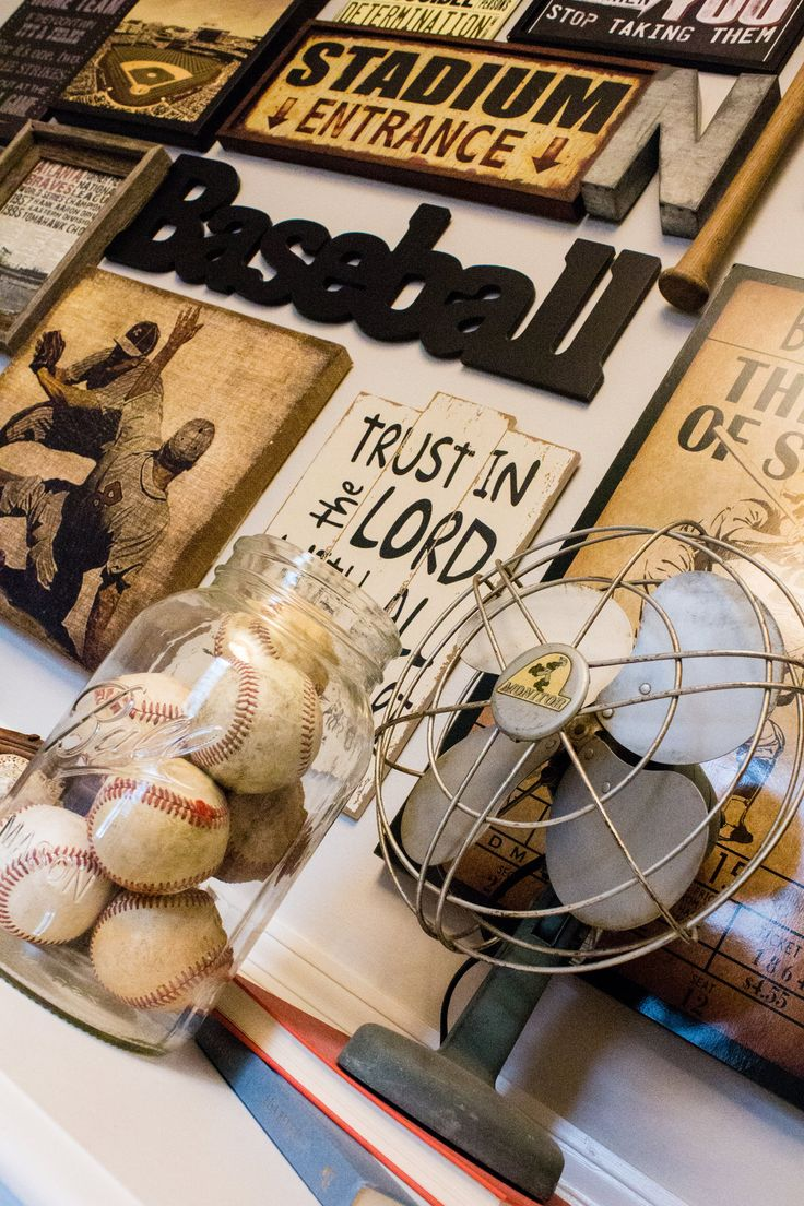 Vintage Baseball Nursery Design #sweetwoodcreativeco #baseball #vintagebaseball #nurserydesign #interiordesign #gallerywall #nurserydecor #braves #atlantabraves