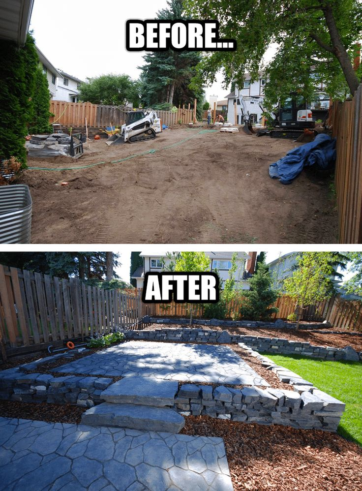Before and after - Backyard Landscaping makeover! Our Riverbend landscaping project turned out amazing! A lot of different features went into this one...