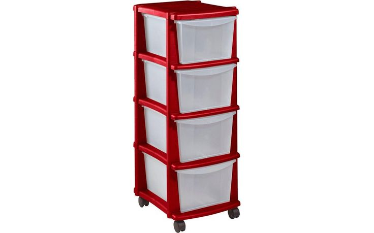 Buy HOME Keter 4 Drawer Plastic Tower Storage Unit - Red at Argos.co.uk - Your Online Shop for Plastic storage boxes and units, Storage, Home and garden.