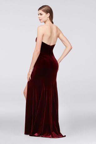 9bb862a4ef Stretch Velvet Sheath Gown with Slanted Neckline