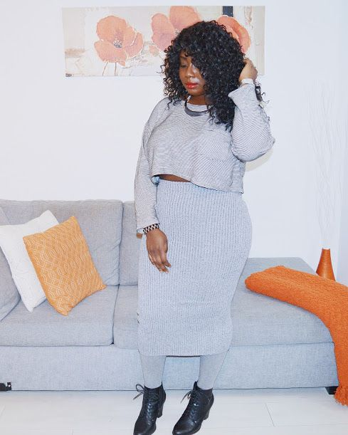 The AfroFusion Spot: Miss G: #OOTD Looks of the Week, winter, knit, greay, orange, midi skirt, warm, home decor, interior design, curls, hair, black, melanin. natural, pose, lookbook. fashion, style, stylish, curves, blogger, blog, fashionista, fashionkilla, booties, outfit