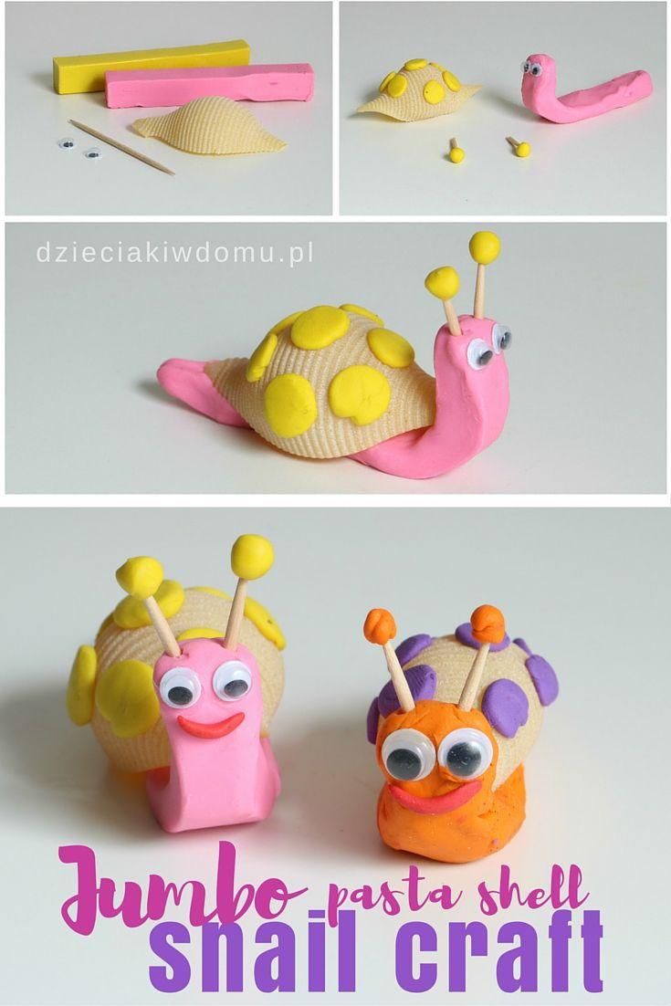 jumbo pasta shell snail craft
