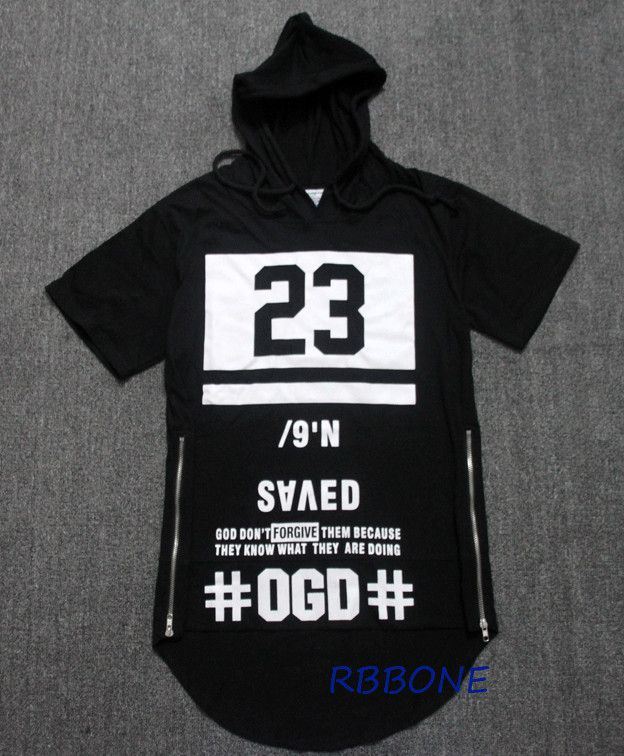 Longline T-shirt Hip Hop Swag Kanye West Tshirt Men Black 23 Tee Brand Clothing…