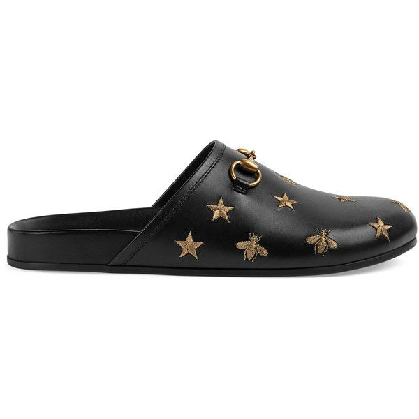 Gucci Horsebit Embroidered Leather Slipper (€585) ❤ liked on Polyvore featuring men's fashion, men's shoes, men's slippers, men, shoes, slippers, mens leather slippers, mens black leather shoes, mens leather shoes and mens embroidered slippers