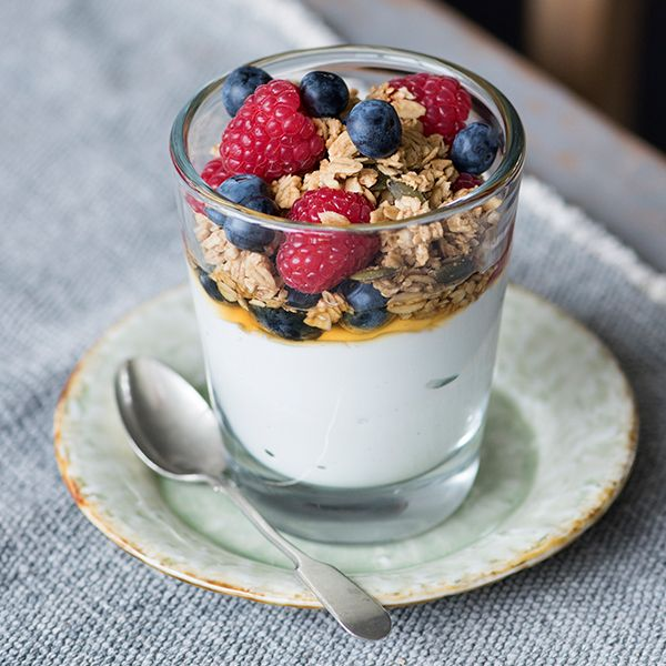 Prep time 5 minutesOk, this has a swanky name and we all know its just yoghurt with berries and granola, but making it in a glass really does something for how it's eaten and its flavor. Plus the ratios here are JUST RIGHT for the perfect fruit to cream to crunch ratio.Serves twoINGREDIENTS300g skyr yogurt