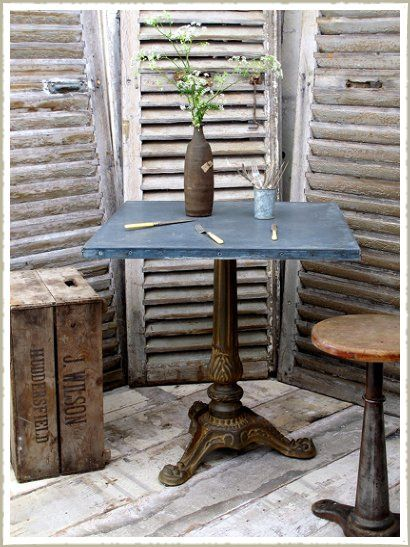Cast Iron base, zinc or wooden top cafe tables
