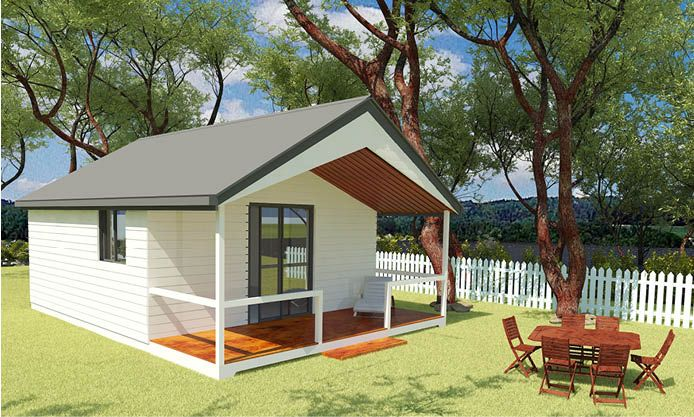 The Haven: A compact cottage with a luxurious raked ceiling inside as well as on the verandah, perfect as a bed-sitter for additional space or guests.