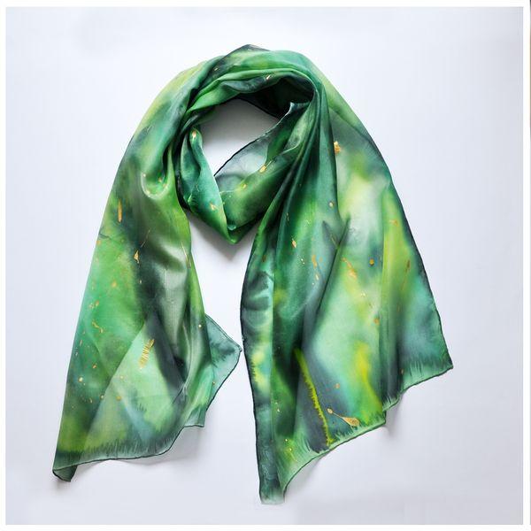 Jedwabny malowany szal - zielone otchłań - MalowanyJedwab - Szale jedwabne