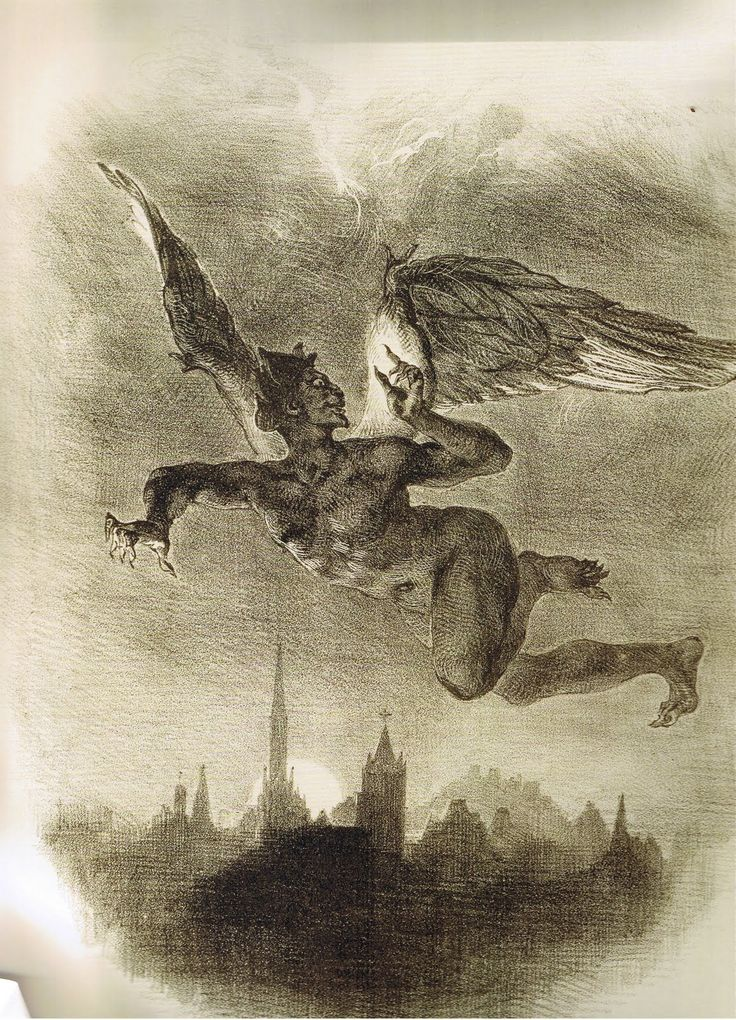 """Eugène Delacroix, Mephistopheles in Flight 1828. This is the first of a series of seventeen illustrations supplied by Delacroix for a French translation by Albert Stapfer of Part 1 of Goethe's Faust, published in Paris in 1828. In this scene from the Prologue in Heaven, Mephistopheles, flying above the nocturnal city skyline, comments of his recent interview with the Lord, """"I like to see the Old Man now and then, / And take good care to keep on speaking terms."""""""