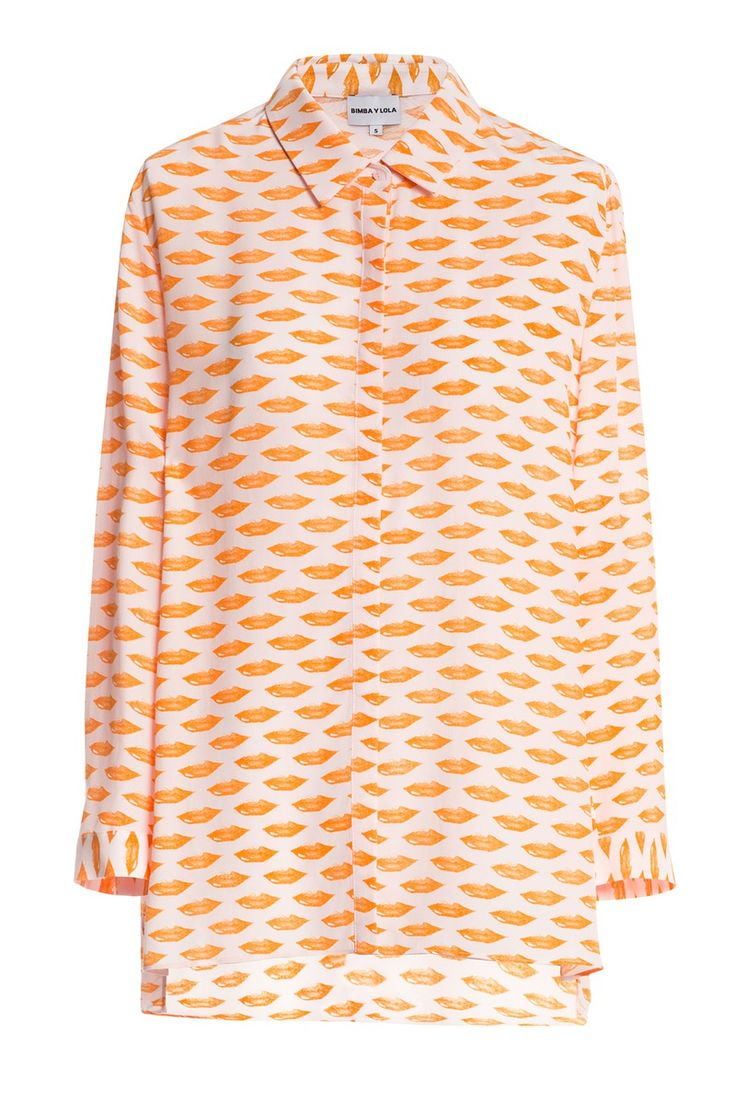 READY TO WEAR Print shirt LIPS MEDIUM PINK-ORANGE