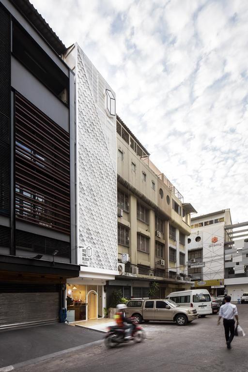 Bed One Block Hostel Design - Facade. This slimlined hostel design in Bangkok, Thailand is genius!