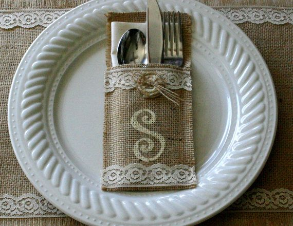 Bride and Groom table setting Burlap wedding by Bannerbanquet, $30.00