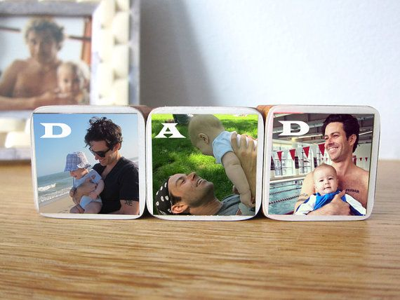 Father's Day Personalized DAD Photo Wood Blocks by BebeBlocks, $35.00
