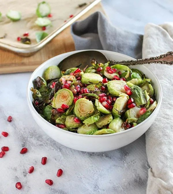 Roasted Brussels Sprouts with pomegranate are beautiful dish, that is full of vi…   – Food I need to make right now