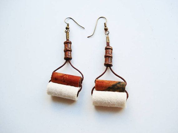 double orange white fabric bead earrings by Joogr on Etsy, €10.90