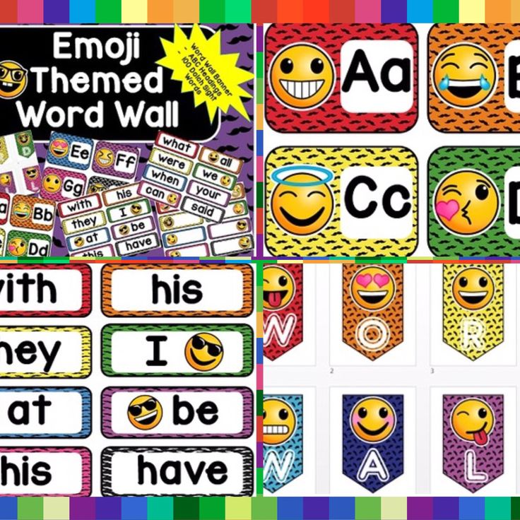 Emoji Themed Word Wall Headers, Pennant Banner, and 100 Dolch Words