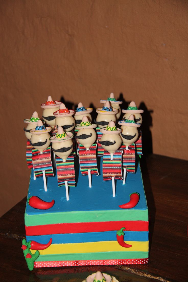 Mexican theme cake pops by #Jeanette's Cake Creations