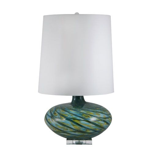 BLUE SWIRL GLASS TABLE LAMP