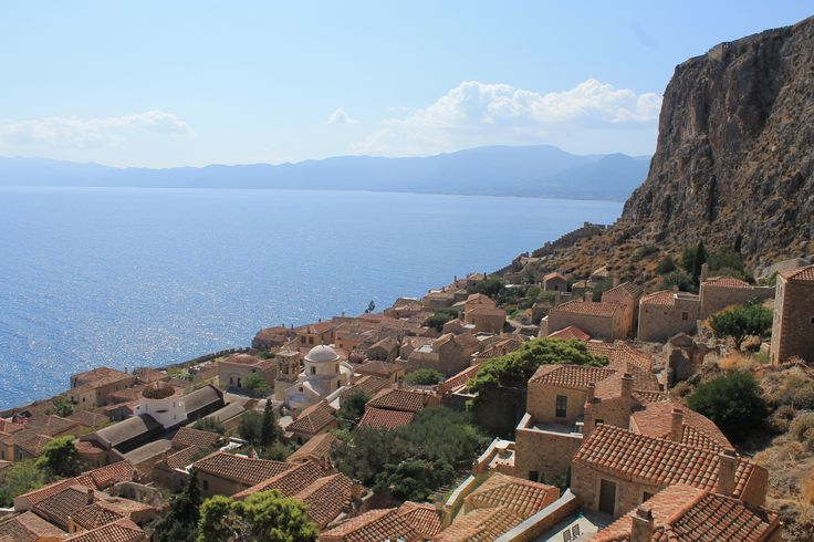 Looking down at the new town from the Κάστρο Μονεμβασιάς (Monemvasia Castle) Peloponnese, Greece