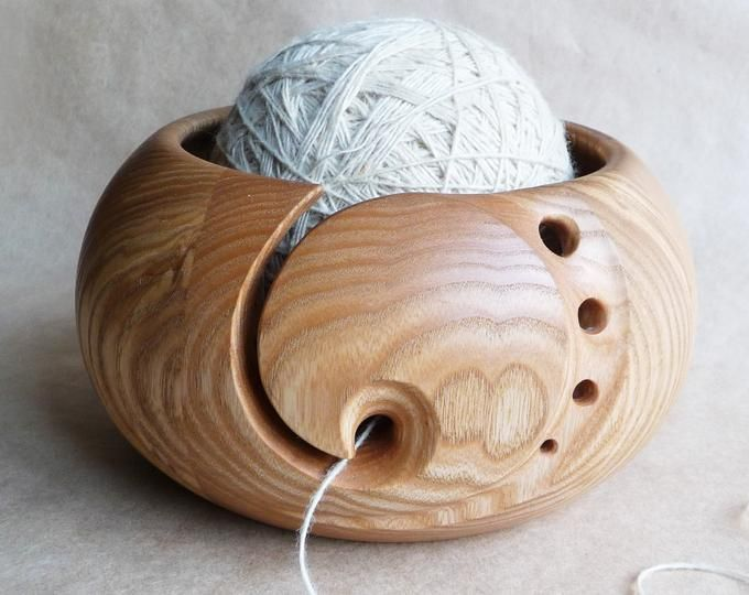 Carved Wood Yarn Bowl Gift For Knitter Wooden Yarn Ball Holder Etsy In 2020 Yarn Bowl Wood Turning Wooden Yarn Bowl