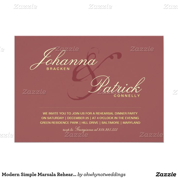 zazzle wedding invitations promo code%0A Modern Simple Marsala Rehearsal Dinner  x  Paper Invitation Card