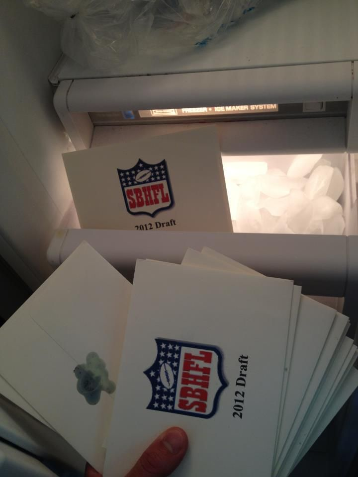 Our fantasy football is so over-the-top we have logo'ed , wax sealed draft selection order envelopes.
