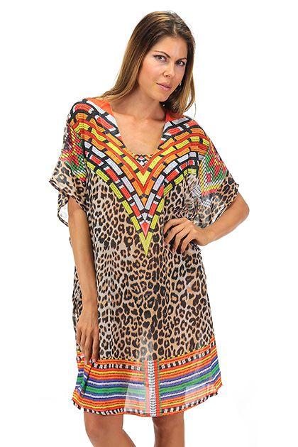 4giveness - Costumi da bagno - Abbigliamento - Kimono in viscosa stampa ethnic animalier e scollo a V. - ETNIC - € 90.00