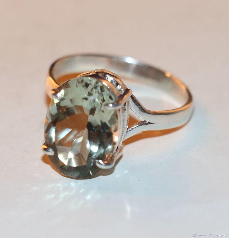 Кольцо аметист зелёный празаолит натуральный серебро 925 – купить в интернет-магазине на Ярмарке Мастеров с доставкой