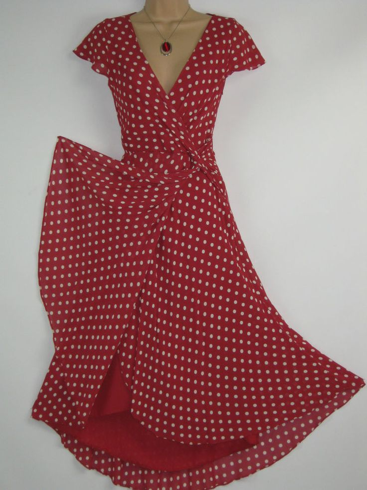 LAURA ASHLEY SCARLET POLKA DOT SUMMER / PARTY DRESS, UK 8