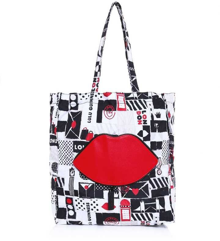 Lulu Guinness London Lip Foldaway Bag