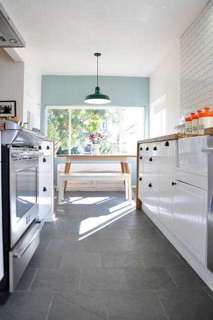 white cabinets, wood worktop, subway tiles, Montauk blue slate floor tiles