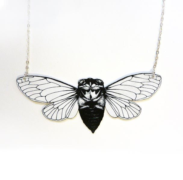 Cicada insect and silver chain necklace. $30.00, via Etsy.