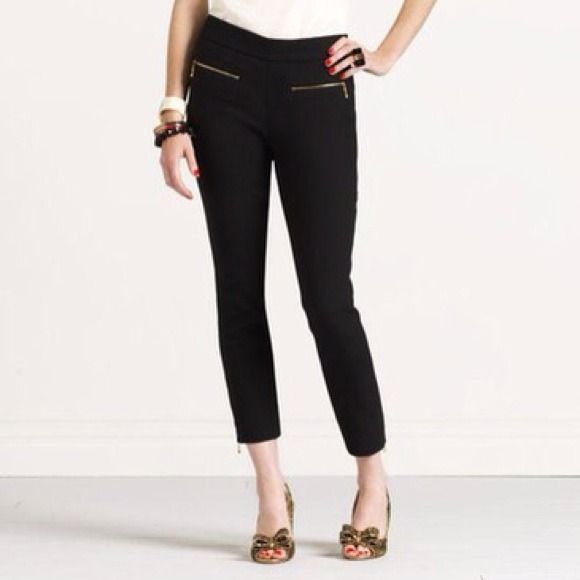Hot pants Way to be retro: kate spade new york speaks to 1950s style with a slim, cropped cut. Play the part by styling with ballerina flats and a button-down blouse knotted at the waist. Black stretch knit. Banded natural waist. Front zip pockets; clean back. Slim, straight legs. Cropped length; zip cuffs. Polyester/wool/Lycra®. Dry clean. Imported. kate spade Pants