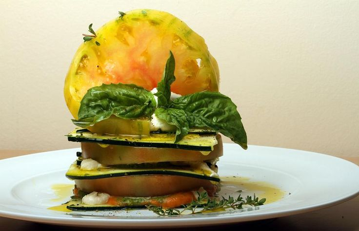 Zucchini and heirloom tomato lasagna made from Christopher's Kitchen. (Libby Volgyes/The Palm Beach Post)