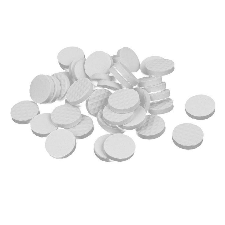 18mm Dia Rubber Self Adhesive Anti-Skid Furniture Protection Pads White 42pcs