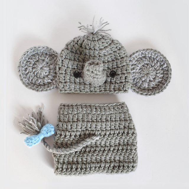 Lil' baby elephant newborn set   www.kbeanies.com  .  .  .  .  #wearableamigurumi #babybeanie #newbornphotographyprop #babywinterhat #crochetbeanie #crochet #ilovecrochet #crochetaddict #elephant #babybear #crochetelephant #ilovebeanies #handmade #crochetersofinstagram #craftastherapy #crochetgirlgang ...