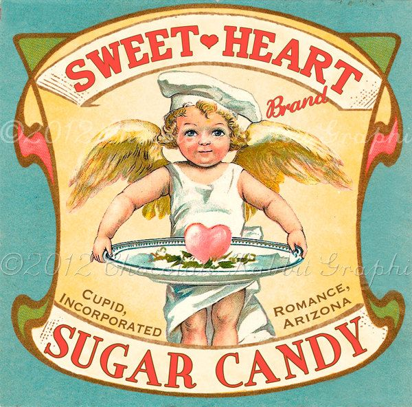 Vintage candy label ~ Valentine Day in the dollhouse | Source: Chocolate Rabbit Graphics @ Wulla