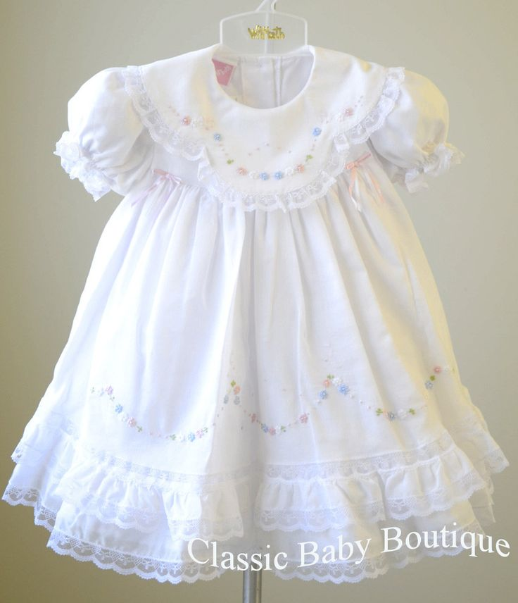 Will'beth Girls White Color Heirloom Lace Frilly Dress with Bloomers 9 12 18 Months