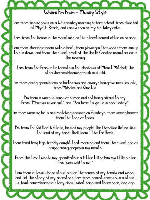 Bio poem examples high school writing a bio poem with for Where i am from poem template