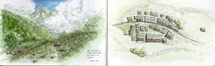 watercolor: just around the hill/ plan of hill town