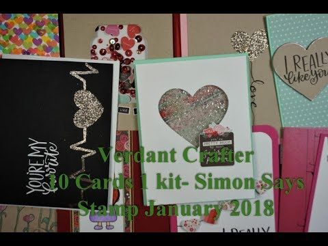 In this video I show you the supplies included in the Simon Says Stamp January 2018 Card Kit of the Month. I created ten cards using primarily materials prov...