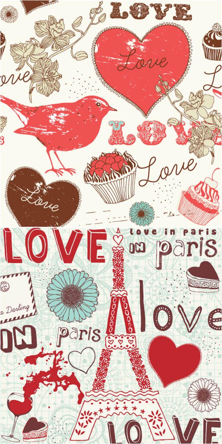 romantic love elements vector 20 Vectores listos para San Valentín. http://www.creativosonline.org/blog/20-vectores-listos-para-san-valentin.html