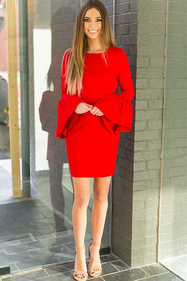The Bardot Dress in Red- $52