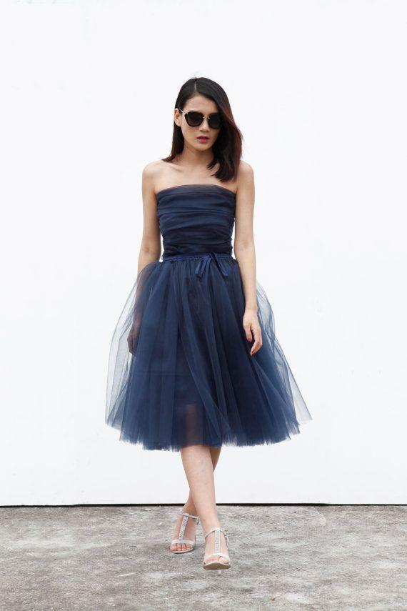 Tulle gonna tè lunghezza gonna Tutu elastico in vita tulle tutu principessa gonna gonna di nozze in Dark Blue - NC508