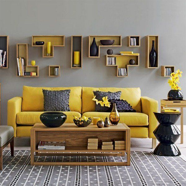 Yellow And Gray Living Room Interior Design Gray Wall Yellow Sofa Wooden  Coffee Table Black Side
