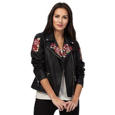 Star by Julien Macdonald Black rose embroidered biker jacket | Debenhams