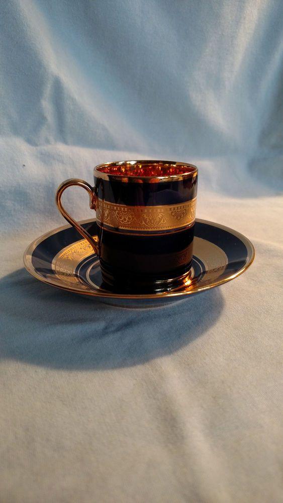 Limoges Legle Porcelaine d'Art Madame Pompadour Demitasse Cup & Saucer